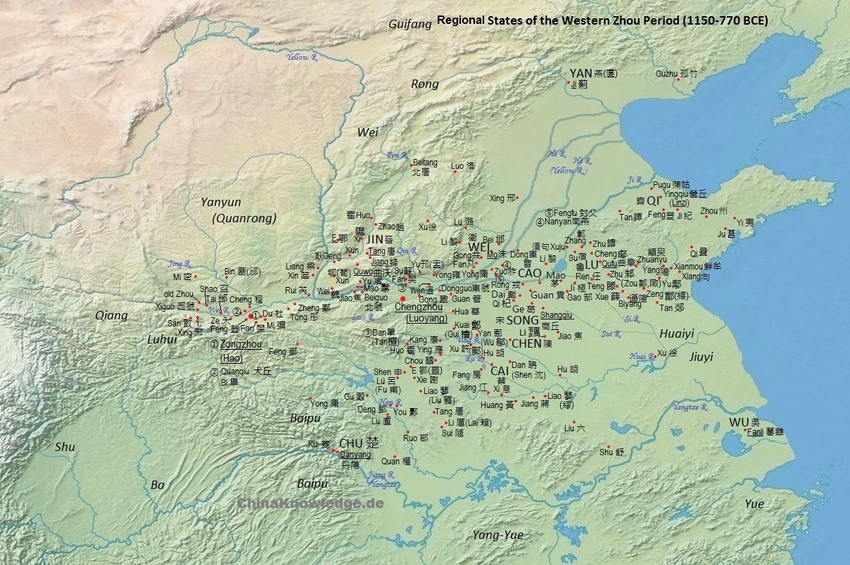 Zhou period geography chinaknowledge map according to tan qixiang 1987 zhongguo lishi ditu ji dots designate the seats of feudal states seats of larger states are sciox Gallery