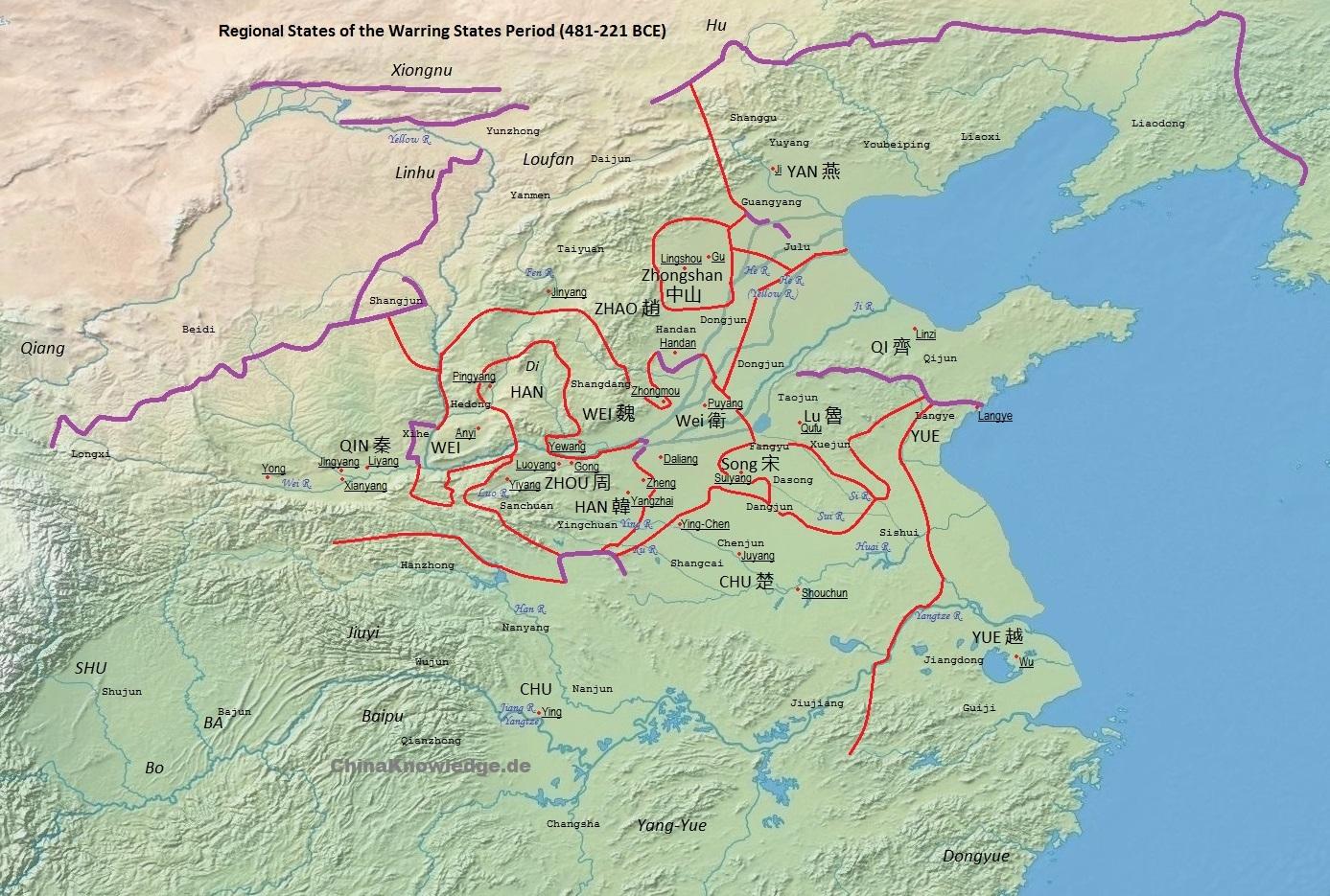 Zhou period geography chinaknowledge map according to tan qixiang 1987 zhongguo lishi ditu ji red lines symbolize territorial borders in c sciox Gallery